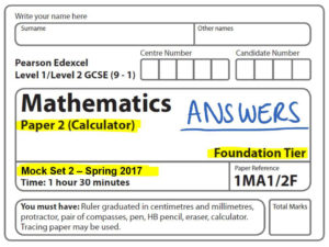 Mock Set 2 2017 Paper 2 Foundation Calculator