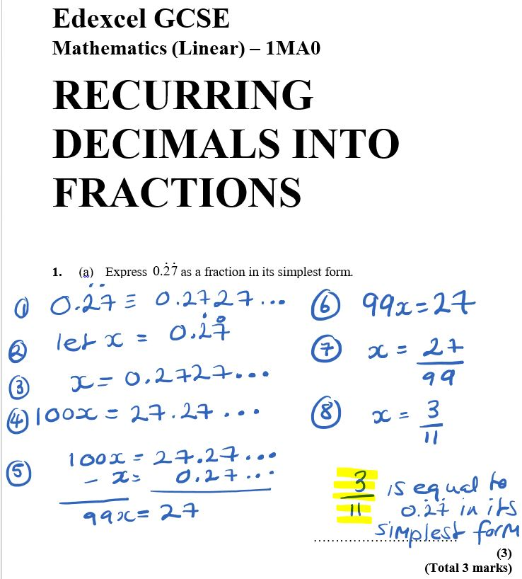 Express 0.27 As a Fraction In Its Simplest Form recurring-decimals | practise gcse maths | Maths GCSE Questions Online | Online Maths Tutoring
